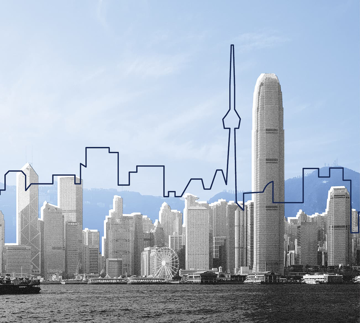 Hong Kong harbour skyline in black and white with an outline of the Toronto skyline overlaying it