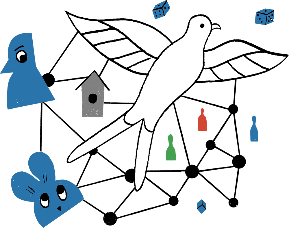 Collage of small circles connected by lines, a large bird, a rabbit, game pieces and dice