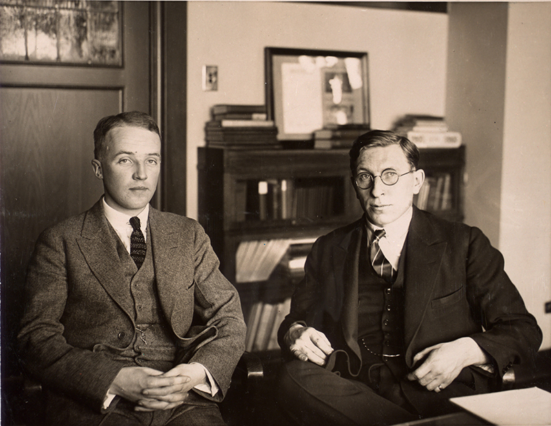 Sepia-toned photo of Charles Best and Frederick Banting