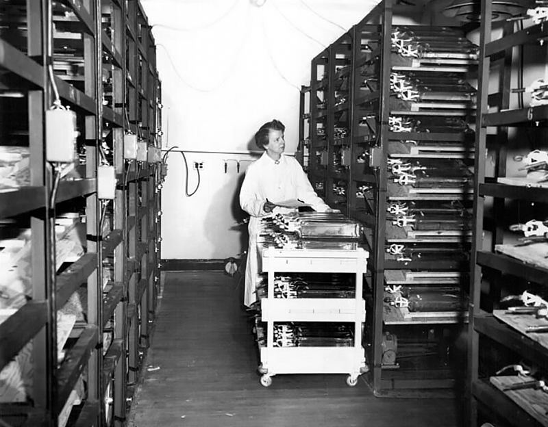 Black and white photo of Leone Farrell in a lab coat looking at items on a storage shelf