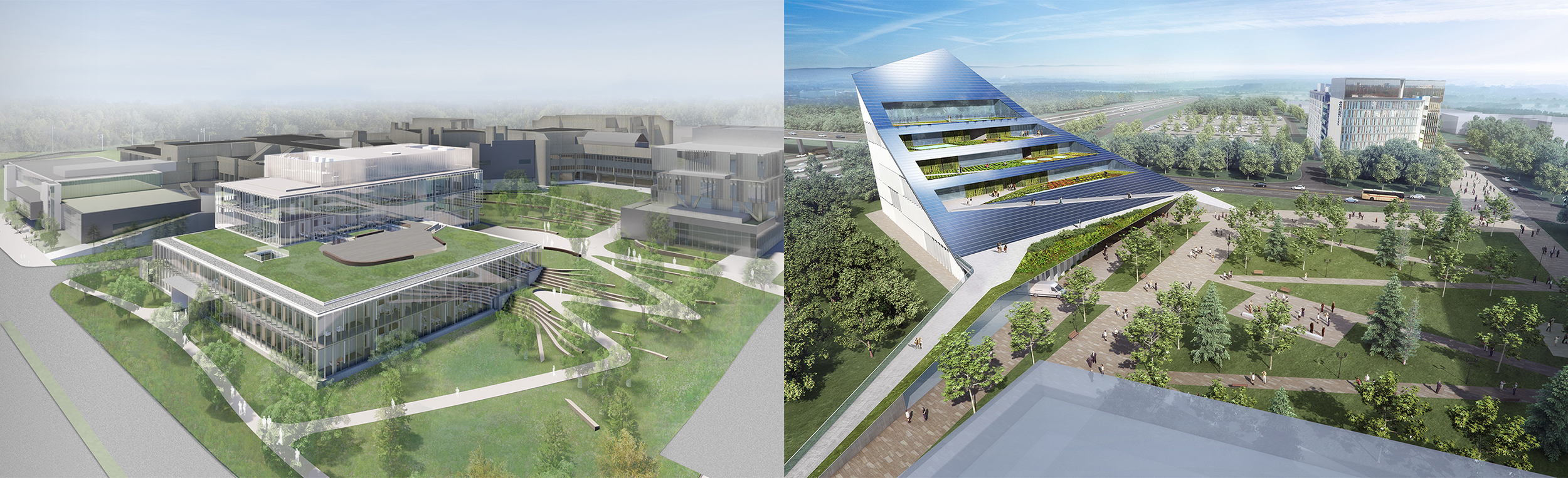 Renderings of the top and sides of the UTM Science Building on the left and a U of T Scarborough vertical farm on the right, both surrounded by grass and trees