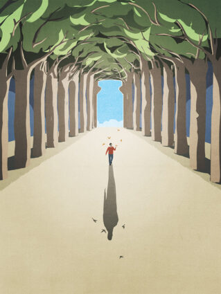A man walking down a tree-lined path, with several birds flying above him and a sky-filled, bottle-shaped opening where the trees end in the distance